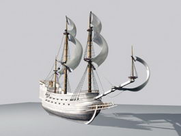18th Century Warship 3d model