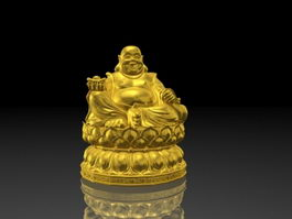 Golden Fat Buddha 3d model