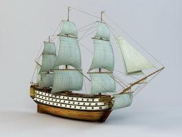 Sailing Battleship 3d model