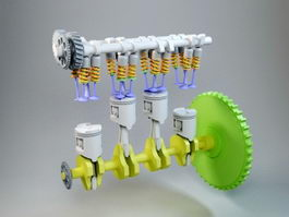 Animated Engine 3d model