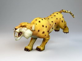 Animated Golden Leopard Rig 3d preview