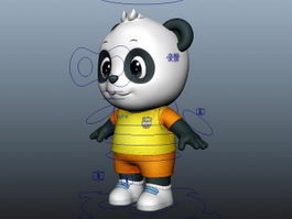 Cute Cartoon Panda Rig 3d model