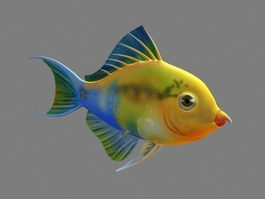 Rainbow Parrotfish Animated Rig 3d model