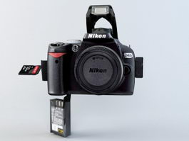 Animated Nikon D40X Digital SLR 3d model