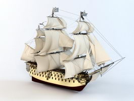 18th Century Sailing Warship 3d model