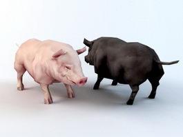 Black and Pink Pig 3d model