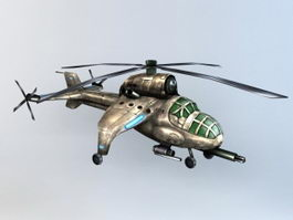 Steampunk Military Helicopter 3d model