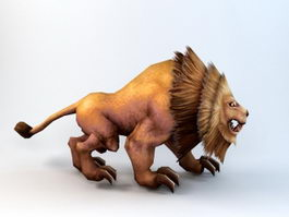 Animated Lion Rig 3d preview