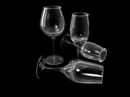 Different Wine Glasses 3d model