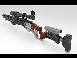 Steampunk Sniper Rifle 3d model