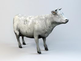 Farm Cow Animated Rig 3d model
