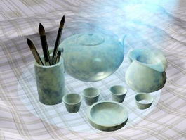 Antique Chinese Tea Set 3d model