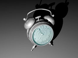 Silver Alarm Clock 3d model