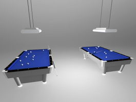 Billiard Tables with Lights 3d model