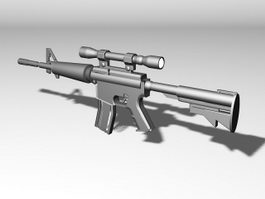 M4 Carbine with Scope 3d model