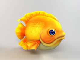 Yellow Cartoon Fish 3d model