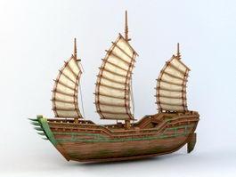 Vintage Sailing Ship 3d model