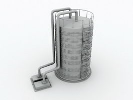 Industrial Water Tower 3d model
