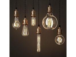 Edison Bulb Lamps 3d model