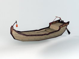 Antique Canoe Row Boat 3d model