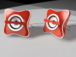 Red Computer Speakers 3d model
