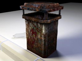 Rusty Metal Trash Can 3d model