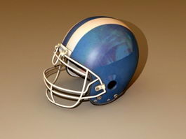 Blue Football Helmet 3d model