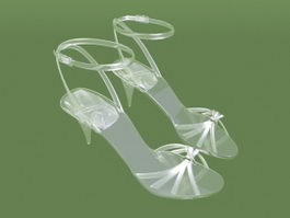Clear Sandals with Heel 3d model