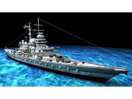 WW2 Bismarck-class Battleship 3d model