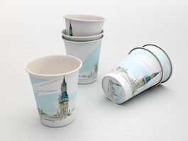 Disposable Paper Cups 3d model