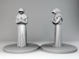 Medieval Monk Statue 3d model