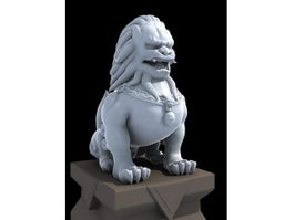Stone Lion Sculpture 3d model