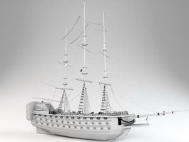 17th Century Warship 3d model