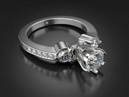 Diamond Wedding Ring 3d model