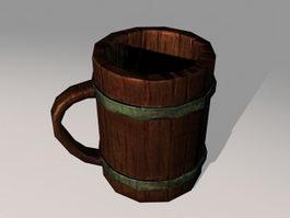 Medieval Wooden Beer Mug 3d model