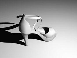 Sandals Platform High Heels Shoe 3d model