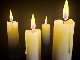 Beautiful Burning Candles 3d model