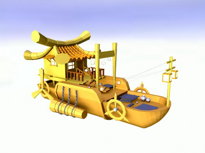 Chinese Anime Ship 3d rendering