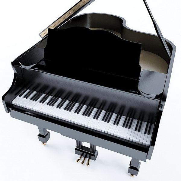 Black Grand Piano 3d rendering