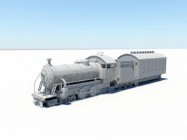 Vintage Steam Train 3d model