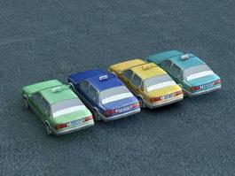 4 Taxi Cars 3d model