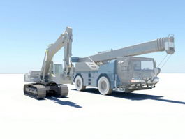 Excavator and Crane 3d preview