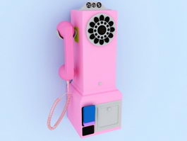Pink Wall Telephone 3d model