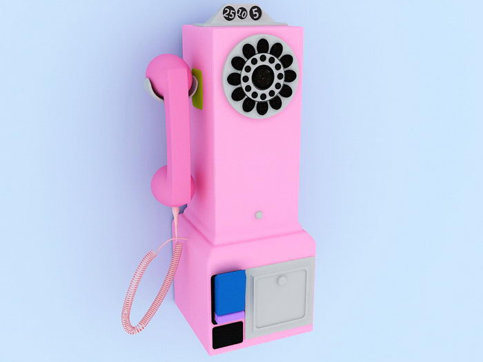 Pink Wall Telephone 3d rendering