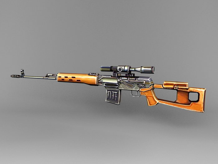 Dragunov sniper rifle 3d rendering