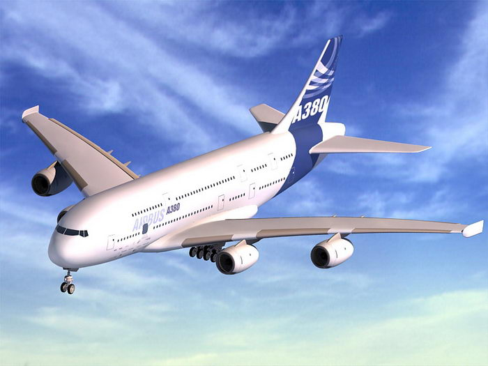 Airbus A380 3d rendering