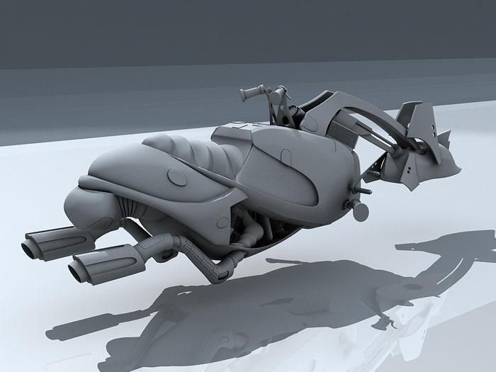 Futuristic Hoverbike 3d rendering