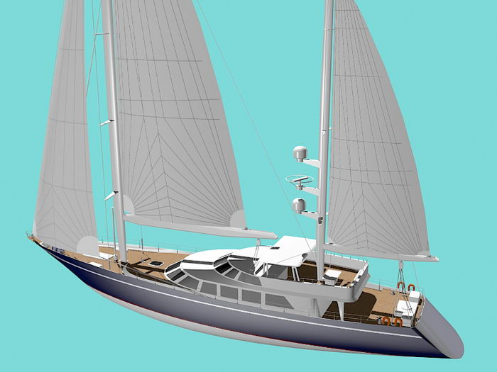 Modern Classic Sailing Yacht 3d rendering