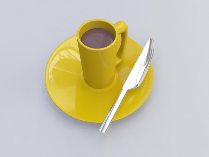 Dinner Plate Knife and Coffee Cup 3d rendering