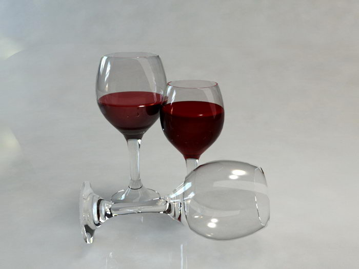 Red Wine Glasses 3d rendering